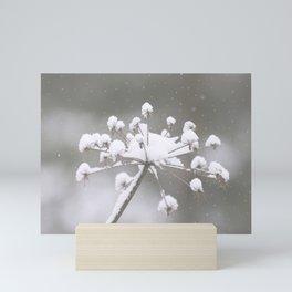 Snow Covered Plant Winter Scene Mini Art Print