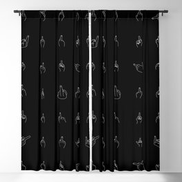 White Middle Fingers Blackout Curtain