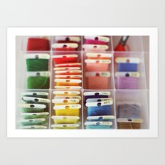 The Endless Possibilities of a Box of Colorful Embroidery Floss  Art Print