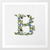 B is for Bees & Blueberries (colour) Art Print