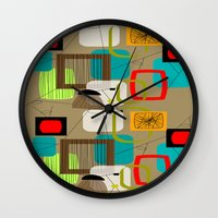 mid century modern Wall Clocks featuring Mid-Century Modern Inspired Abstract by Kippygirl