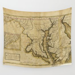 Map of the State of Maryland (1795) Wall Tapestry