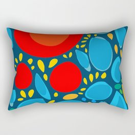 Blue Abstract Floral and decorative pattern Rectangular Pillow