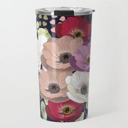Anemones & Gardenia deep blue bouquet Travel Mug