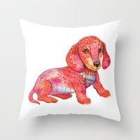 mini Throw Pillows featuring Mini Dachshund  by Ola Liola