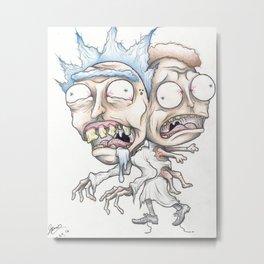 Cronenberged Rick and Mort Metal Print