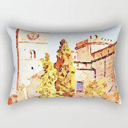 Teramo: people, trees with cathedral and bell tower Rectangular Pillow