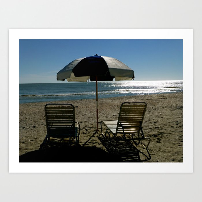 2 Chairs By The Sea.. Art Print