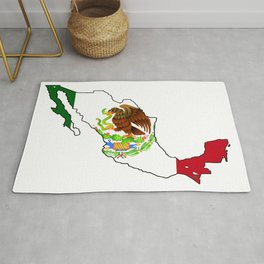 Mexico Map with Mexican Flag Rug
