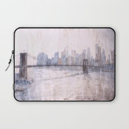 Brooklyn Bridge and skyscrapers of Manhattan at sunset in New York City- New York, USA.  Watercolor Laptop Sleeve