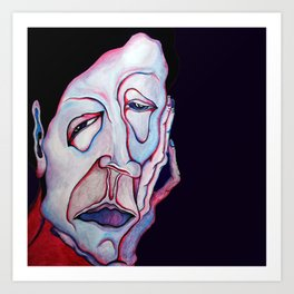 Thinker Surreal Melting Portrait Of a Man Damned Poet Art Print