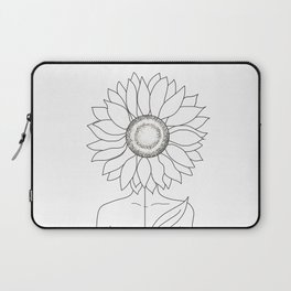 Minimalistic Line Art of Woman with Sunflower Laptop Sleeve
