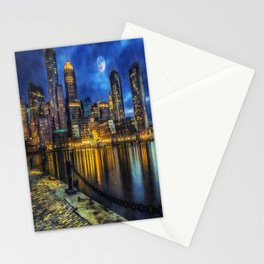 Downtown At Night Stationery Cards