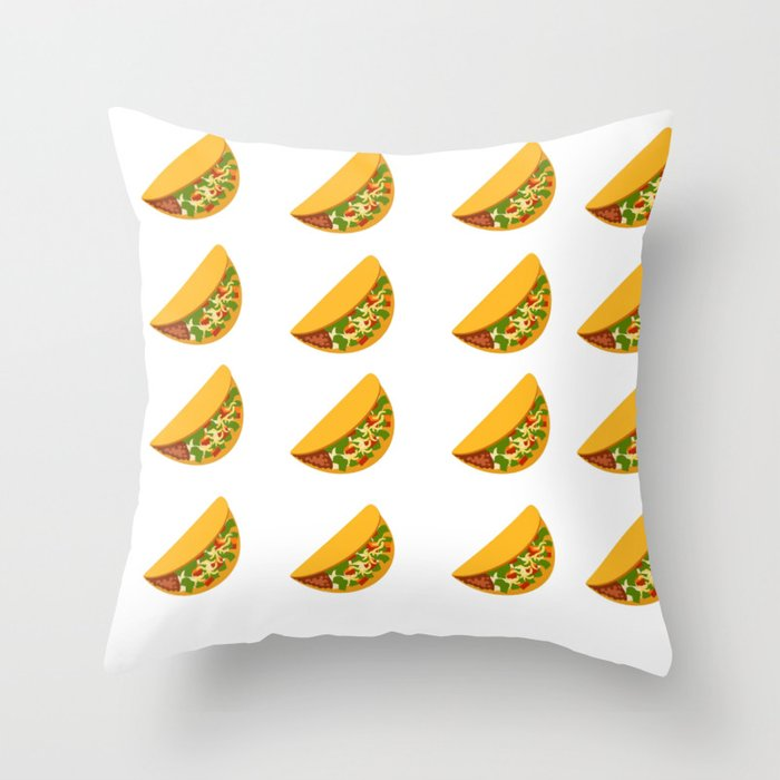 Taco Pattern With Transparent Background Throw Pillow By