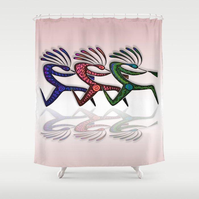 RUNNING KOKOPELLI Shower Curtain By Johnaconroy