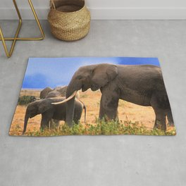 Baby Elephant With Elephant Parents In Kenya, Africa Rug