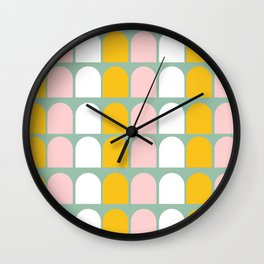 Pink, Orange and White Ice-Lollies on Teal Wall Clock