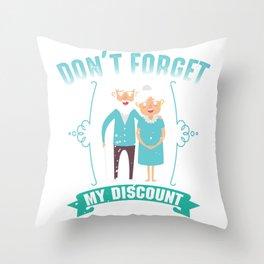 Senior Citizen Discount Elderly Old People Throw Pillow