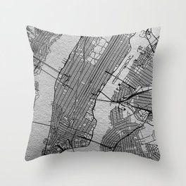 Silver new york map Throw Pillow