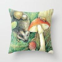 mushrooms Throw Pillows featuring Mushrooms by Natalie Berman