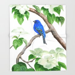Royal Blue-Indigo Bunting in the Dogwoods by Teresa Thompson Throw Blanket