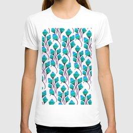 Blue watercolor ponpon flower T-shirt