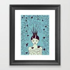 Strange Hair And Flowery Swirls Framed Art Print