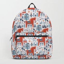 Scandinavian Inspired Folkstory - Red + Blue Backpack