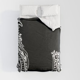Black And White Polynesian Tribal Pattern Comforters