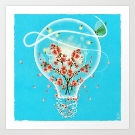 Bright Idea Flowers, Lightning Bugs and Moth in Light Bulb Surreal Art Art Print