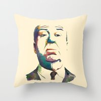 hitchcock Throw Pillows featuring Hitchcock by totemxtotem