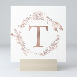 Letter T Rose Gold Pink Initial Monogram Mini Art Print