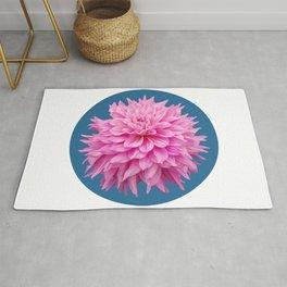 Floral Art Pink Dahlia Circle Blue Rug