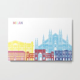 Milan skyline pop Metal Print