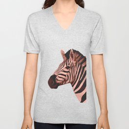 [Animals & Stripes] Peach zebra Unisex V-Neck