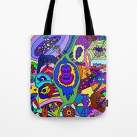 psychadelic Tote Bags featuring Abstract 18 by Linda Tomei