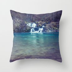 Waterfall Nature Water - Teal Blue Waterfall Cove Throw Pillow