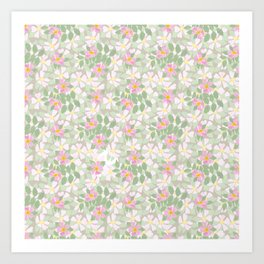 Pink Dogroses on Taupe Art Print