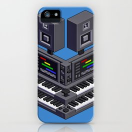 Electronic music altar — isometric pixel art iPhone Case