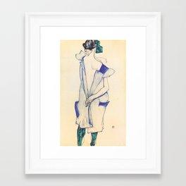 "Egon Schiele ""Rückenansicht eines Mädchens im blauen Rock (Back view of  a girl in a blue dress)"" Framed Art Print"
