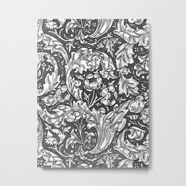 Art Nouveau Acanthus Leaves and Flowers, Gray Metal Print