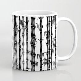 Bamboo Forest Pattern - White Black Grey Coffee Mug