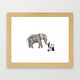 Elephant and Phanda Friend Framed Art Print