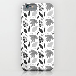 Hand painted black gray watercolor winter leaves pattern iPhone Case