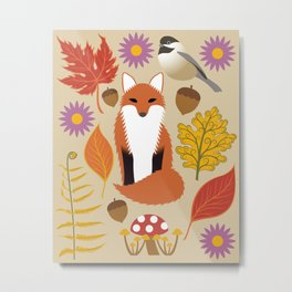 Autumn Fox and Forest Leaf Metal Print