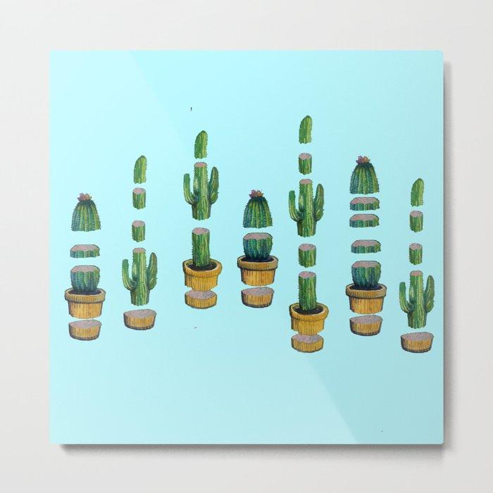 cut cactus on blue Metal Print