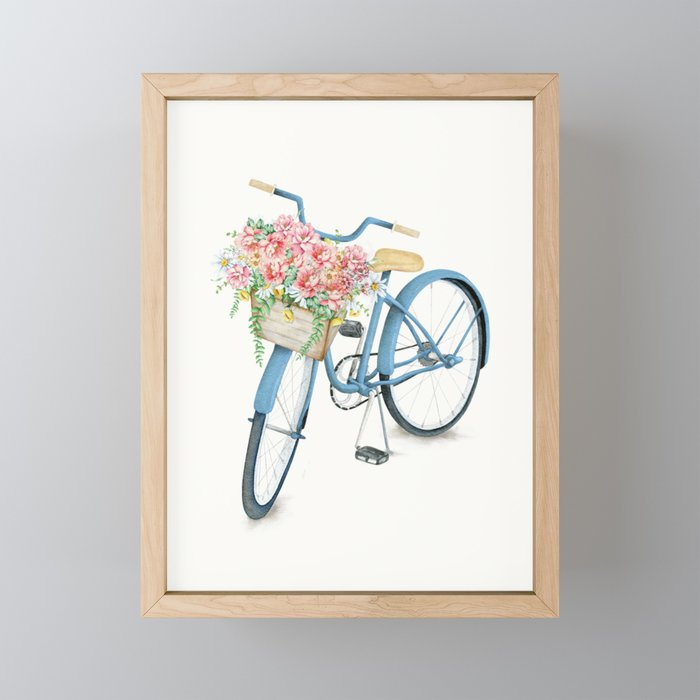 Blue Bicycle with Flowers in Basket Framed Mini Art Print