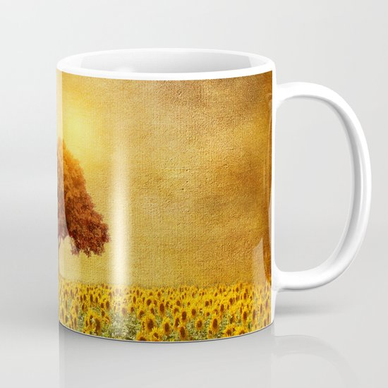 lone tree & sunflowers field (II) Mug