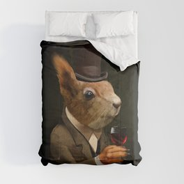 Sophisticated Pet -- Squirrel in Top Hat with glass of wine Comforters