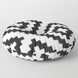 Urban Tribal Pattern No.18 - Aztec - Black and White Concrete Floor Pillow